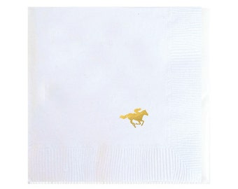 Kentucky Derby Party Cocktail Napkins - Gold Foil Horse - Set of 20
