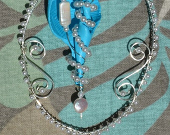 SC9 Glam Pearl and Sea Shell Sun Catcher, Beach Decor, Ocean by Southwest Dreaming