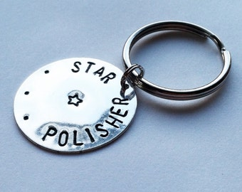 "Teacher's Gift, ""Star Polisher"" Metal Stamped Key Chain"