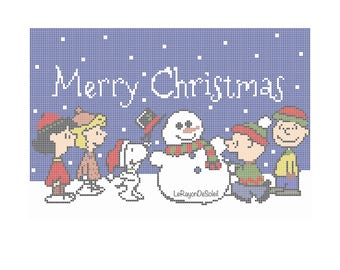 snoopy christmas card cross stitch pattern charlie brown snoopy woodstock winter snow christmas tree instant download pdf - Snoopy Christmas Song