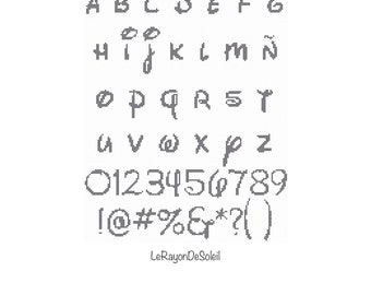 Cross Stitch Pattern Alphabet Font DISNEY PDF Instant Download