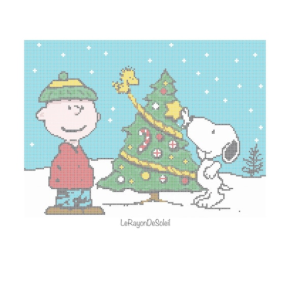 Cross Stitch Pattern Charlie Brown Snoopy Woodstock Winter Etsy