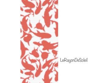 Bead loom pattern - Red sharks Bracelet Pattern Instant Download - Beaded Cuff Bracelet - Pattern Digital PDF