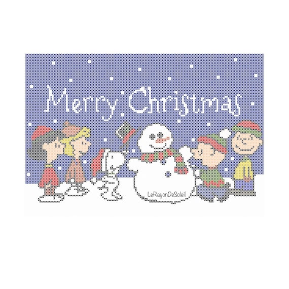 Snoopy Christmas Card Cross Stitch Pattern Charlie Brown Etsy