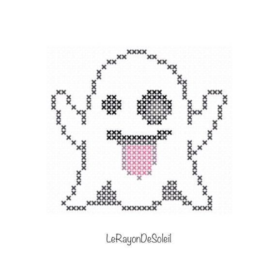 Mini Ghost Emoji Halloween Cross Stitch Pattern PDF Instant Etsy Delectable Stitch Patterns