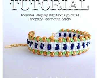 Superduo bead pattern beadweaving tutorial glass beads czech glass beads jewelry tutorial. Snake.