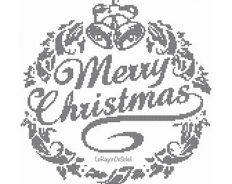 Christmas modern cross stitch pattern wreath Merry Christmas -  PDF Instant download.