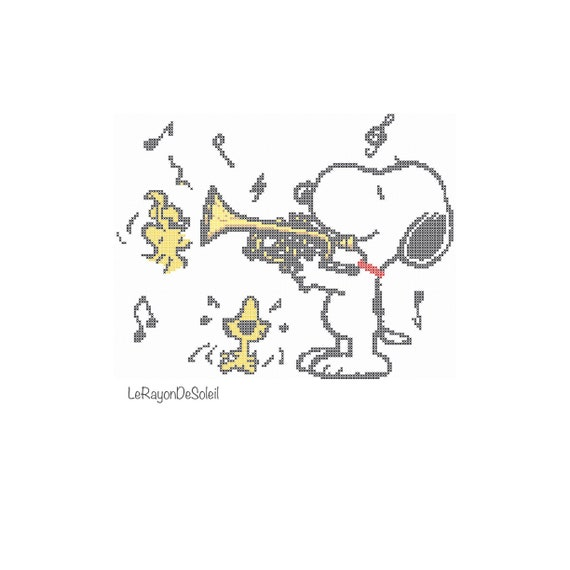 Cross stitch pattern Snoopy playing the trumpet Snoopy | Etsy