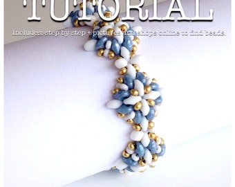 Superduo bead pattern beadweaving tutorial glass beads czech glass beads jewelry tutorial. Rosetones.