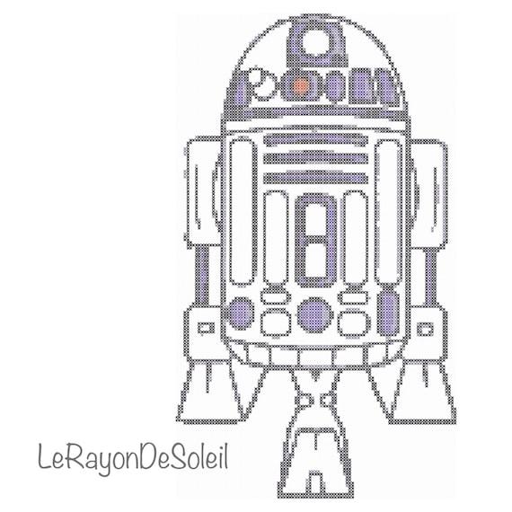 Modern cross stitch pattern Star Wars R2 D2.