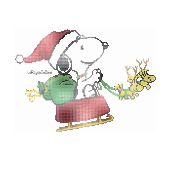 Cross stitch pattern Snoopy Christmas grating card Woodstock | Etsy