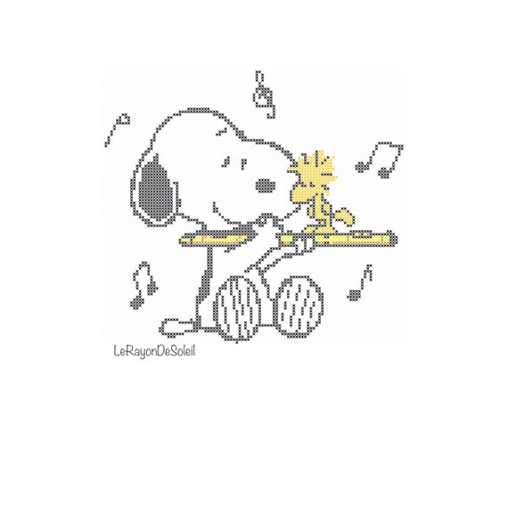 Cross stitch pattern Snoopy playing the flute Snoopy | Etsy