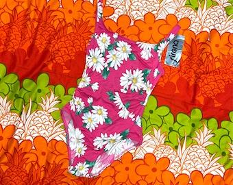 Girls Vintage 1990s Sirena Retro Neon Pink w Rainbow Daisy/'s Flower Power One-Piece Child Size 10 or Petite X-Small Y2K Fashion
