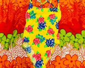Vintage 90s Bright Yellow Tropical Hibiscus Floral Deadstock One Piece Hi Cut High Waist Size Medium 10