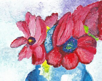 Anemones in Vase Reproduction Painting 6x9
