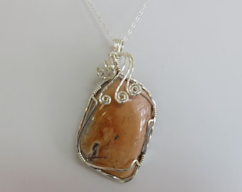 Wire Wrapped Pendant, Sterling Silver, Chain, Crazy Lace Agate, Handmade  31013