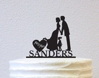 Cake Topper - Silhouette with little girl (W032)