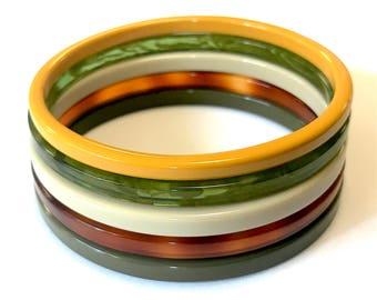 Set of 5 Acetate Bangles-green neutrals
