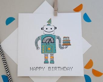 Robot Birthday- Quirky, Illustrated Robot Birthday Card- Happy Birthday Boyfriend//Son//Friend//Dad//Uncle//Nephew