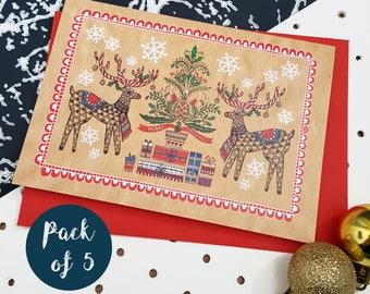Illustrated Christmas Cards Pack- Festive Folk Art Reindeer- Pack of 5
