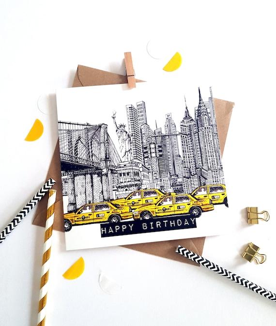 New York Skyline Birthday Card-Blank Inside