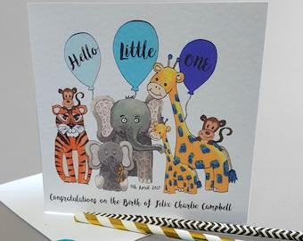 New Baby Card- Hello Little One, Jungle Animals Card- Baby Boy // Baby Girl- Newborn Card