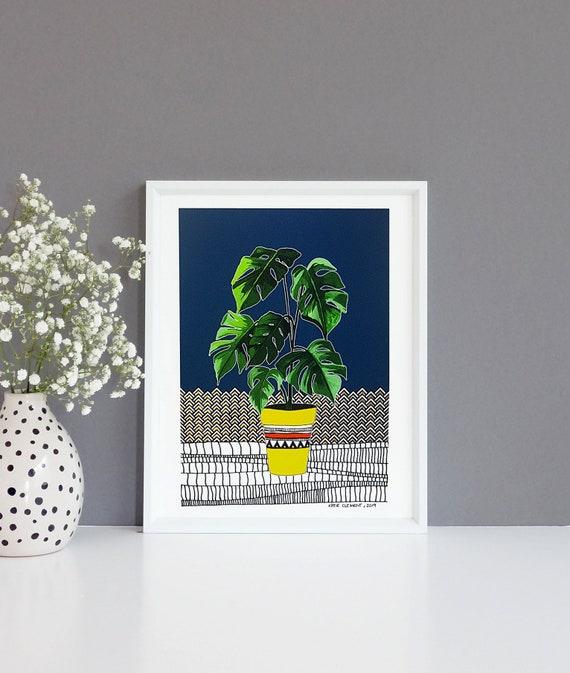 Potted Housplant- Monstera Fine Art Print- Various sizes