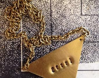 """Riot """"Grrrl"""" brass pendant necklace"""