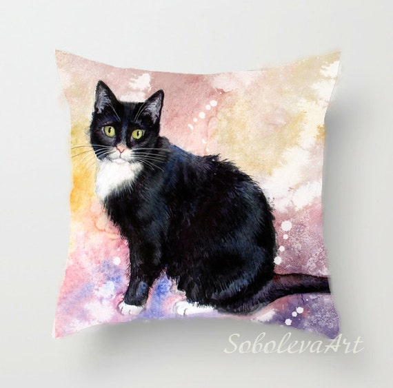 Black Cat Art Baby Pillow Throw Pillow Cushion Cover Etsy