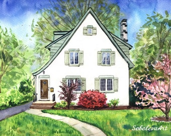 Home painting from photo Whitehome Custom House Portrait Custom landscape Custom painting Custom watercolor Architecture Art