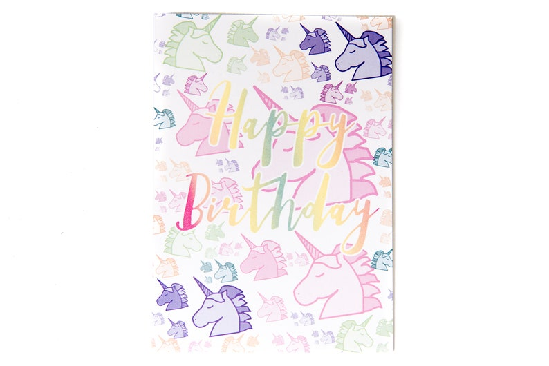 Birthday Card Greeting Cards Unicorn Happy