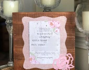 Invitation keepsake etsy keepsake preserved wedding invitation plaque pallet style stopboris Images