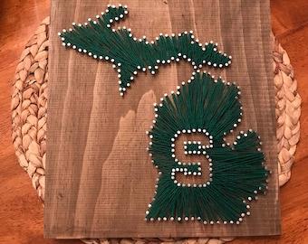 Michigan string art etsy string and nail art michigan state university freerunsca Images
