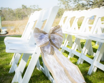Burlap and Lace Pew/Chair Bow