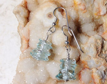 Palest Blue Lumpy Bumpy Glass Bead and Silver Earrings