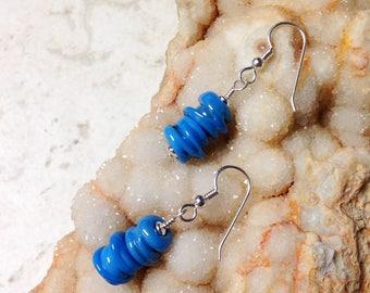 Blue Lumpy Bumpy Glass Bead and Silver Earrings