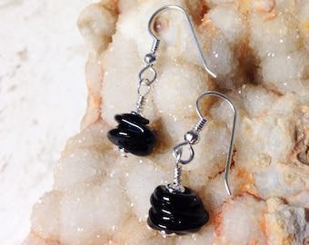 Black Lumpy Bumpy Glass Bead and Silver Earrings