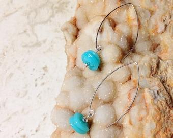 Sterling Silver and Aqua Blue Lumpy Bumpy Earrings