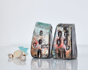 Set of 2 Raku Ceramic houses, Raku fired Ceramic houses Handmade Unique Ceramics  Architectural Home decor, raku pottery, Croatia