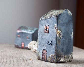Handmade Black Raku fired Ceramic houses with silver, gold  and copper glazes, Hand sculpted and raku or earthenware fired, Raku pottery