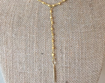 Gold Spiked Drop Necklace