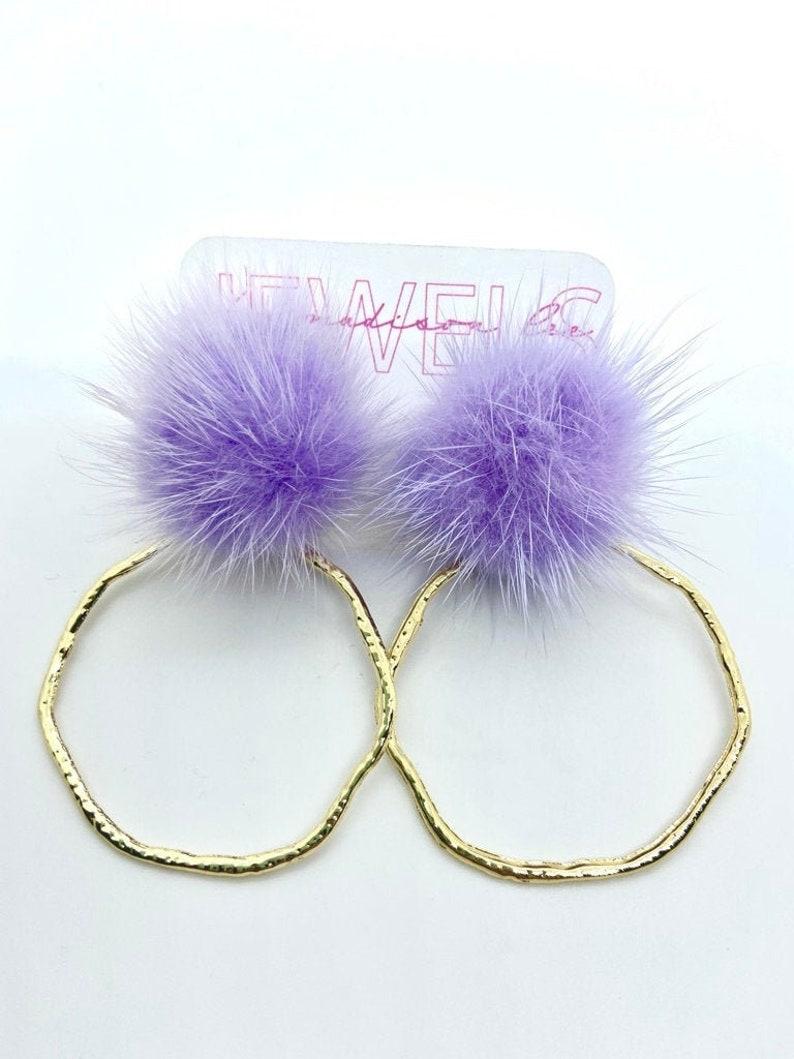 Nashville Earrings Purple PomPom Gold Hoop
