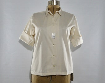 7a2a409a10c NWT Beige Shapely Classic Permanent Press Blouse 18, Roll Sleeve Straight  Hem Shirt, Vintage 1950s 1960s XL Button Down Top, Deadstock Shirt