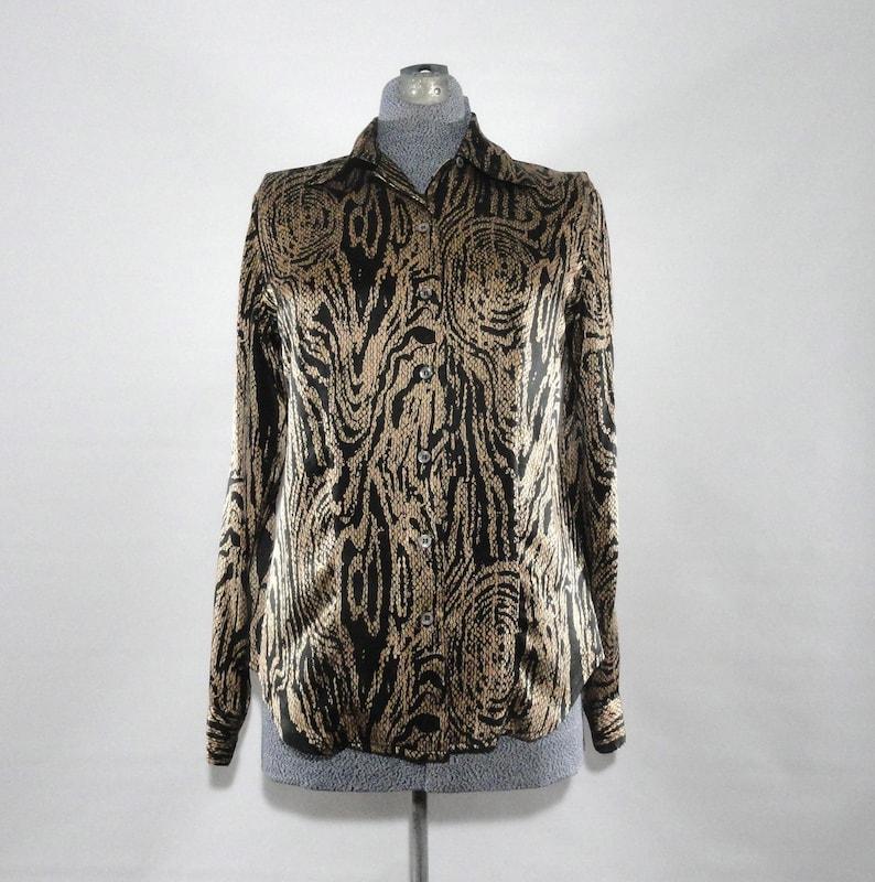 Halston Silk Blouse 4 High End Blouse Swirl Design Black Gold Shirt Designer Top SM Vintage 1970s Silk Abstract Blouse Glamourous
