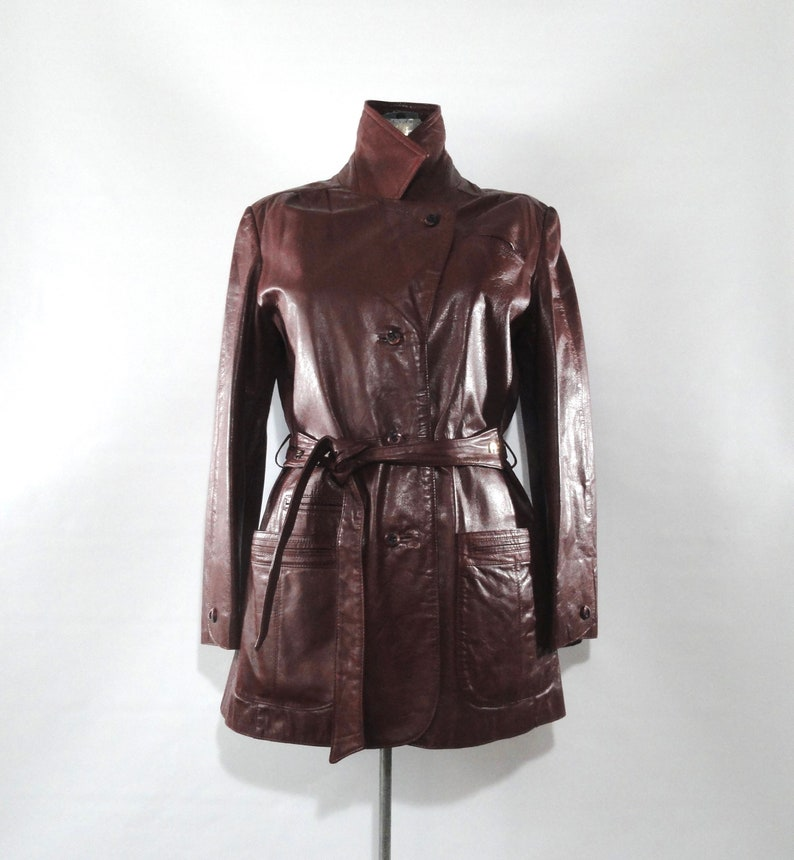 f16f1dd1d Vintage 1970s Etienne Aigner Maroon Belted Jacket 14, Leather Brass  Burgundy Blazer Matching Belt Large, Fully Lined EA Short Trench