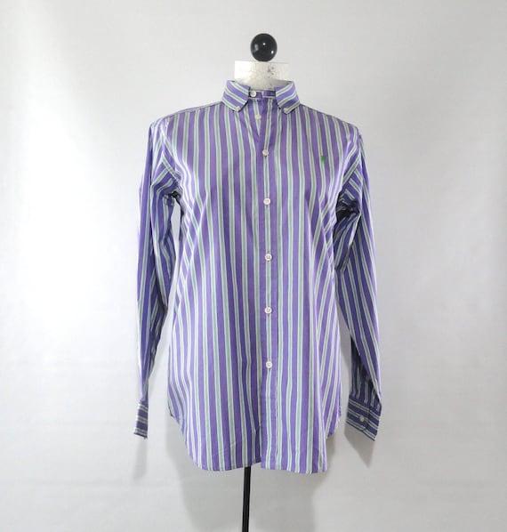 Deadstock Purple Ralph Lauren Shirt Large, Striped Green White Button Down 14 16, Vintage 1980s Preppy Top LRG