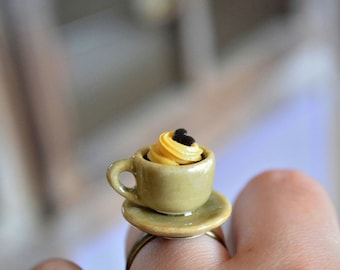 Coffee cup ring,Cup of coffee ring,Miniature coffee ring,Mini food ring,Dollhouse miniature ring