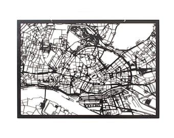 3D Stadtplan Hamburg, ca. 59x42cm (73x53cm)