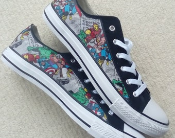 447480089469 Canvas Shoes Hand Customised with Marvel Groups Fabric with Captain  America