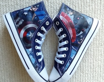 f07594afae38 Canvas Shoes Hand Customised with New Marvel Captain America Fabric.